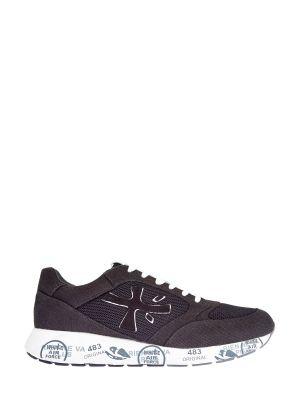 Кожаные черные кроссовки с принтом Premiata