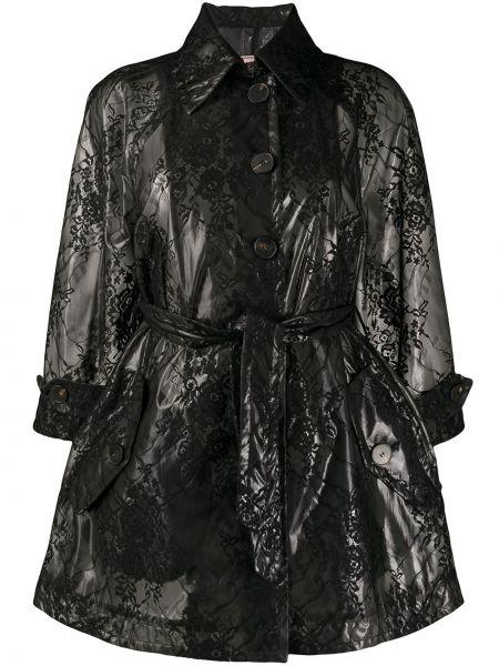 Черное пальто с капюшоном с воротником Antonio Marras