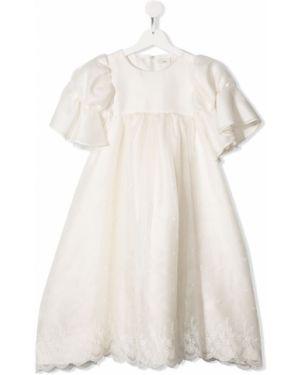 Ажурное платье с рукавами на пуговицах круглое с вырезом Fendi Kids
