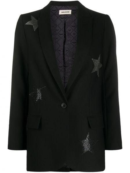 Черный удлиненный пиджак на пуговицах из вискозы Zadig&voltaire