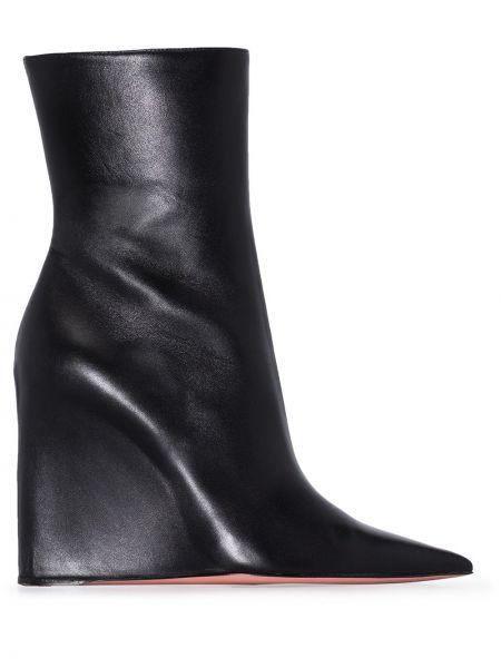 Черные кожаные ботинки на платформе Amina Muaddi