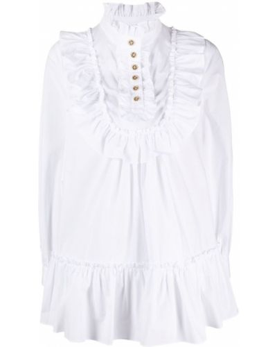 Biała sukienka długa z długimi rękawami bawełniana Edward Achour Paris