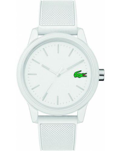 Biały zegarek kwarcowy z paskiem Lacoste