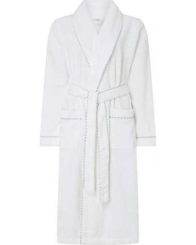 Biały szlafrok bawełniany bez zapięcia Calida