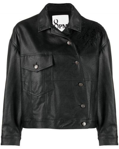 Черная короткая куртка с воротником с карманами 8pm