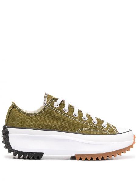 Зеленые кроссовки на платформе на шнуровке Converse