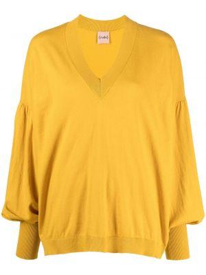 Хлопковый желтый свитер с V-образным вырезом Nude