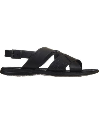 Черные сандалии кожаные Emporio Armani