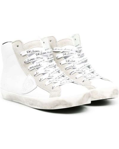 Кожаные белые высокие кеды с нашивками на шнуровке Philippe Model Kids