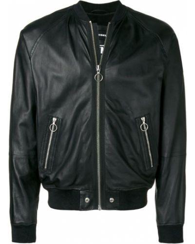 Кожаная куртка черная льняная Diesel