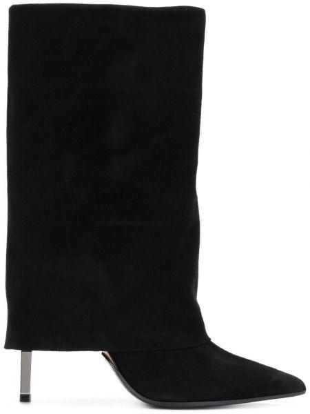 Сапоги на высоком каблуке черные на каблуке Balmain