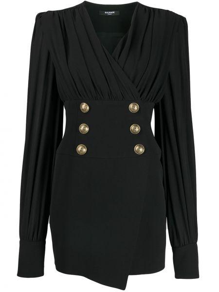 Шелковое черное платье мини с V-образным вырезом на пуговицах Balmain