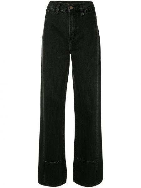 С завышенной талией хлопковые черные прямые джинсы с поясом Nobody Denim