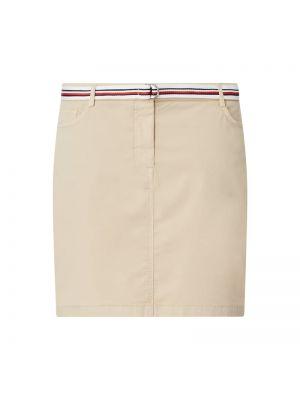 Beżowa spódnica zapinane na guziki z paskiem Tommy Hilfiger Curve