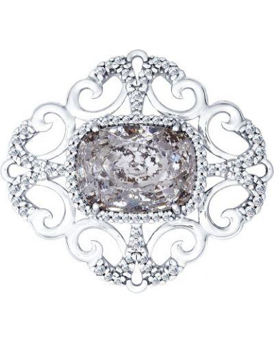 Брошь с камнями серебряная Sokolov