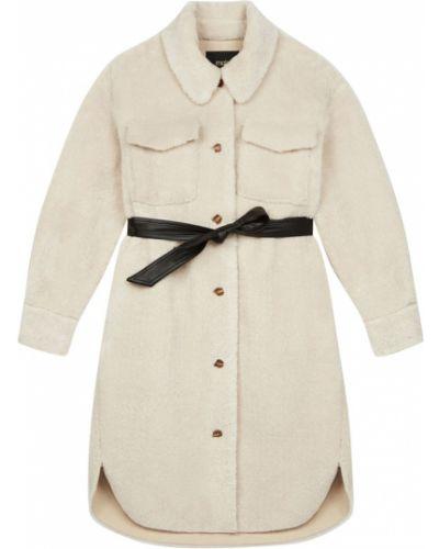 Белое пальто с мехом Maje