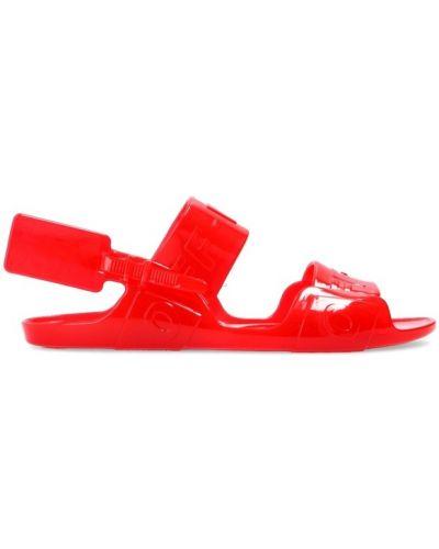 Czerwone sandały klamry Off-white