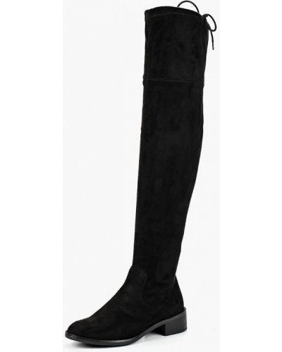 Черные ботфорты замшевые S.oliver