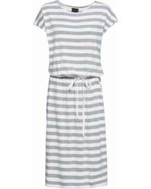 Платье макси в полоску с поясом Bonprix