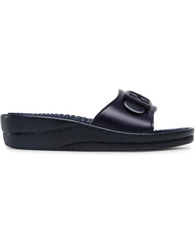 Шлепанцы на каблуке - синие Scholl