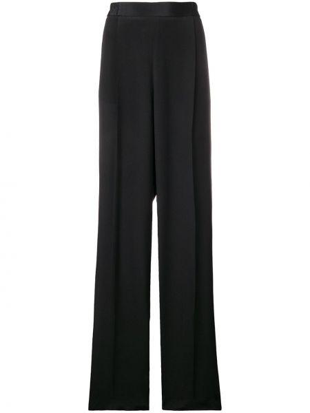 Приталенные черные расклешенные брюки в рубчик Stella Mccartney
