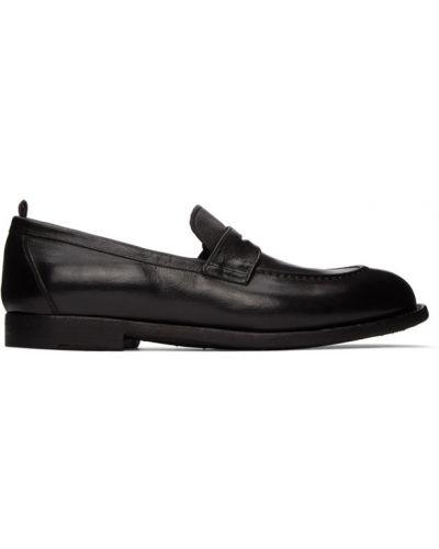 Zamsz czarny loafers prążkowany kaskada Officine Creative