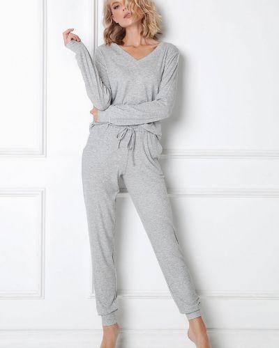 Szara piżama z długimi rękawami z wiskozy Aruelle