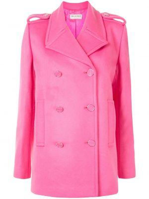 Розовое шерстяное длинное пальто двубортное Emilio Pucci