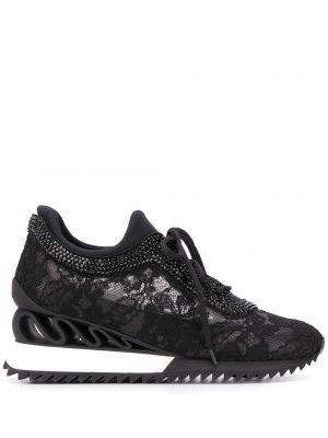 Skórzane sneakersy z logo czarne Le Silla