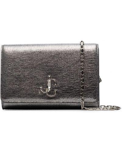 Серебряная с ремешком кожаная сумка на цепочке Jimmy Choo