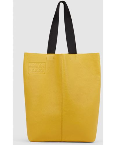 Желтая кожаная сумка шоппер классическая Ecco