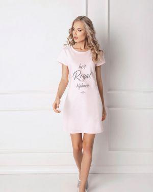 Różowa koszula nocna krótki rękaw z printem Aruelle