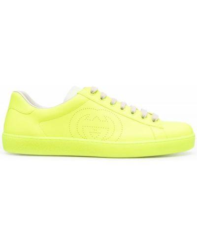 Buty sportowe skorzane - żółte Gucci
