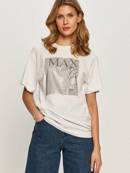 Трикотажная белая футболка с вырезом Max&co