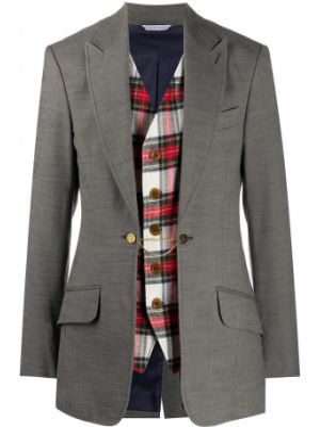 Шерстяной пиджак на пуговицах с лацканами со вставками Vivienne Westwood Pre-owned
