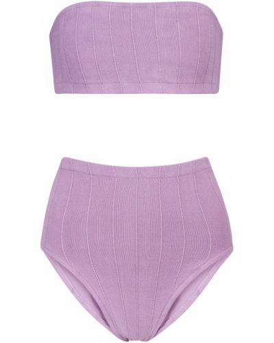 Prążkowany fioletowy bikini z nylonu Hunza G