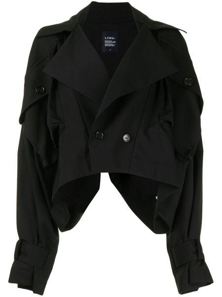 Шерстяная черная длинная куртка двубортная Yohji Yamamoto