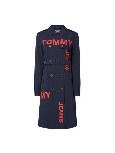 Niebieski trencz zapinane na guziki bawełniany Tommy Jeans