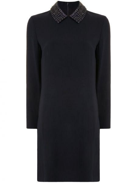 Czarna sukienka długa z długimi rękawami z jedwabiu Christian Dior