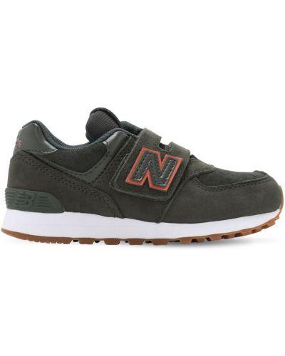 Z paskiem skórzany zielony sneakersy na hakach New Balance