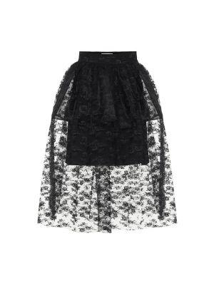 Черная ажурная юбка миди в рубчик на шнурках Christopher Kane