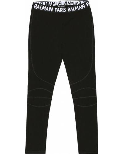 Czarne legginsy z wiskozy Balmain Kids