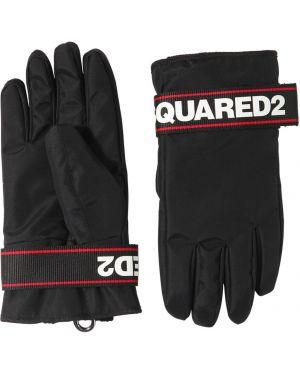 Prążkowane czarne rękawiczki z printem Dsquared2