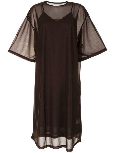 Коричневое прямое платье миди в рубчик G.v.g.v.