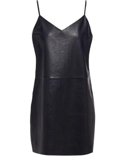 С ремешком кожаное черное платье мини Walter Baker