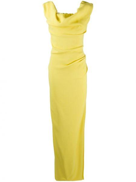 Желтое платье макси без рукавов с вырезом Vivienne Westwood
