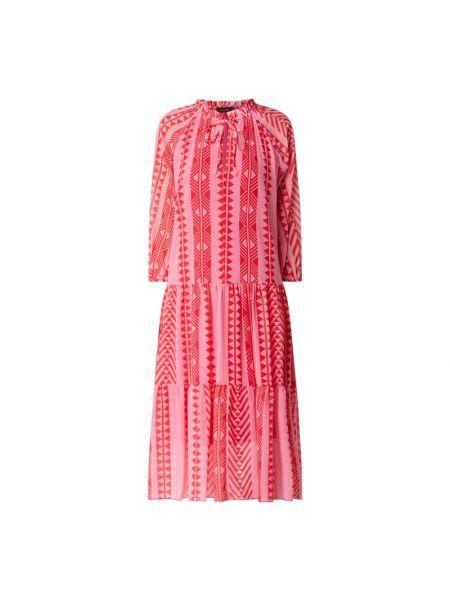 Sukienka rozkloszowana z wiązaniami - różowa Miss Goodlife