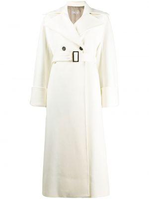 Белое шерстяное длинное пальто на пуговицах свободного кроя Alberto Biani