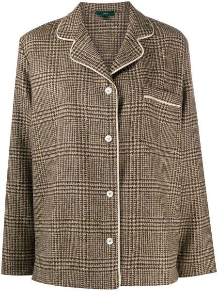 Шерстяная коричневая длинная куртка с отворотом с карманами Jejia