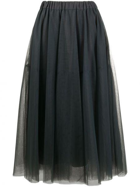 Серая юбка миди из фатина с поясом P.a.r.o.s.h.